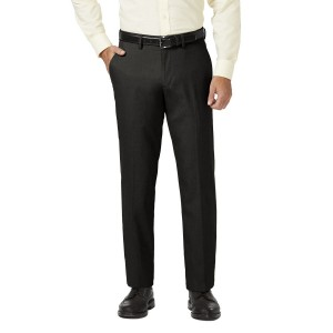 Haggar Dress Slack - Straight Fit, Flat Front, Flex Waistband - Black