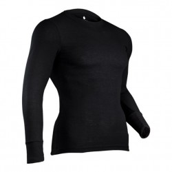 Mens Performance Rib Knit Base Layer T - Black