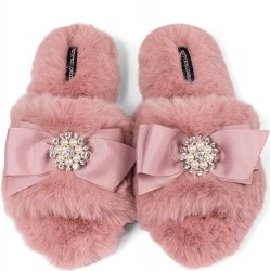 Pretty You London Faux-Fur Wide Band Slipper with Embellished Bow - Pink