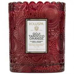 """Voluspa"" Scalloped Edge Embossed Glass Candle - Goji Tarocco Orange - Style #7201"