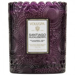 """Voluspa"" Scalloped Edge Embossed Glass Candle - Santiago Huckleberry - Style #7202"