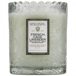 """Voluspa"" Scalloped Edge Embossed Glass Candle - French Cade Lavender - Style #7204"