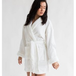 Aegean Short Terry Loop Bathrobe - WHITE