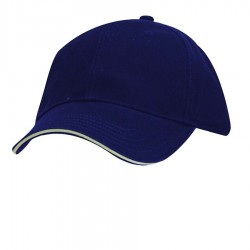 DPC Solid Twill Cap with Piping Style #BC166 - Navy with Stone