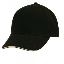 DPC Solid Twill Cap with Piping Style #BC166 - Black with Stone