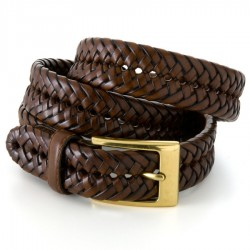 Mens Dockers Leather Braided Belt - Brown