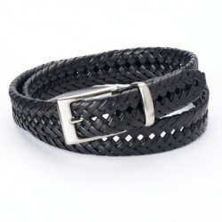 Mens Dockers Leather Braided Belt - Black
