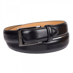 Mens Dockers Leather Dress Belt with Polished Gunmetal Buckle - Black