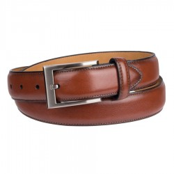 Mens Dockers Leather Dress Belt with Polished Gunmetal Buckle - Tan