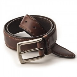 Mens Dockers Leather Dress Belt with Stitched Edge - Brown