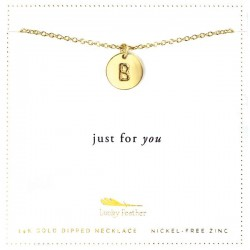 Lucky Feather 14K Gold Dipped Initial Necklace - B