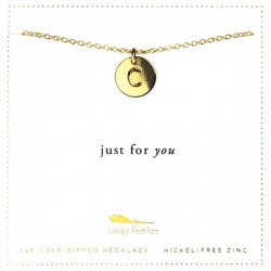 Lucky Feather 14K Gold Dipped Initial Necklace - C