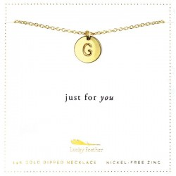 Lucky Feather 14K Gold Dipped Initial Necklace - G