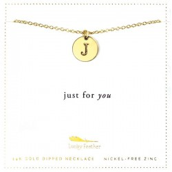 Lucky Feather 14K Gold Dipped Initial Necklace - J