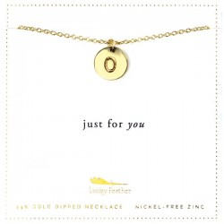 Lucky Feather 14K Gold Dipped Initial Necklace - O