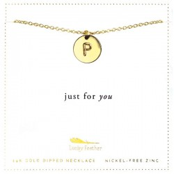 Lucky Feather 14K Gold Dipped Initial Necklace - P