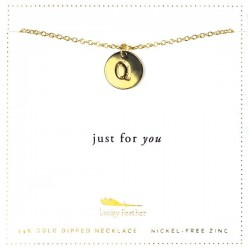 Lucky Feather 14K Gold Dipped Initial Necklace - Q