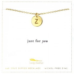 Lucky Feather 14K Gold Dipped Initial Necklace - Z