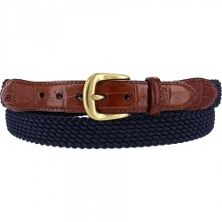Mens Brighton Elastic Cord Belt - Navy
