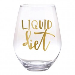 Jumbo Stemless Wine Glass  30 oz glass - Liquid Diet