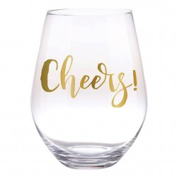 Jumbo Stemless Wine Glass  30 oz glass - Cheers