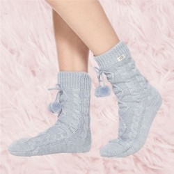 Ugg Fleece Lined Pom Pom Cable Knit Sock - Fresh Air Blue