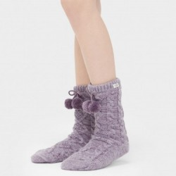 Ugg Fleece Lined Pom Pom Cable Knit Sock - Lilac