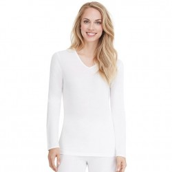 Cuddl Duds Softwear with Lace Edge V-neck Top - White