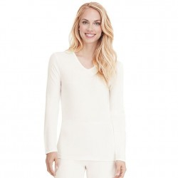 Cuddl Duds Softwear with Lace Edge V-neck Top - Ivory