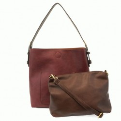 Classic Hobo Bag with Removeable Crossbody Bag - Merlot/Brown
