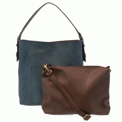 Classic Hobo Bag with Removeable Crossbody Bag - Dark Chambray/Coffee
