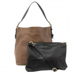 Classic Hobo Bag with Removeable Crossbody Bag - Chestnut/Black