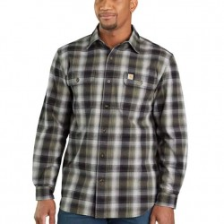 Carhartt 2 Flap Pocket Mid-Weight Flannel Shirt - Olive/Black
