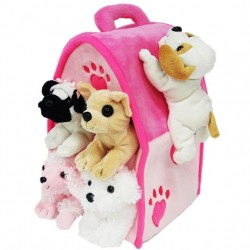 "12"" Plush Pink House with 5 Puppies"