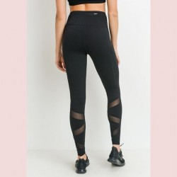 Mono B Performance Activewear - High Waist Mesh Trim Legging
