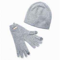 Look By M Cashmere Blend Beanie - Light Grey