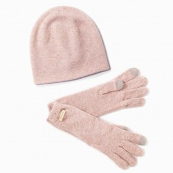Look By M Cashmere Blend Beanie - Blush