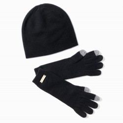 Look By M Cashmere Blend Beanie - Black