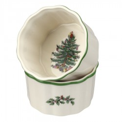 "SPODE ""Christmas Tree"" 3.5 Inch Round Scalloped Ramekins Set of 2"