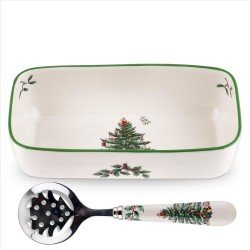 "SPODE ""Christmas Tree"" Cranberry Server with Slotted Spoon 8""/6.5"""