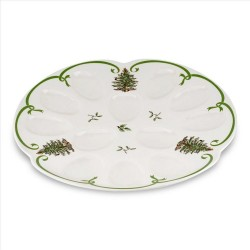 "SPODE ""Christmas Tree"" Devilled Egg Dish 13"""