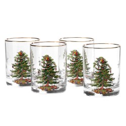 "SPODE ""Christmas Tree"" Double Old Fashioned Glasses 14oz. Set of 4"