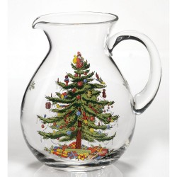 "SPODE ""Christmas Tree"" Glass Pitcher 9"" 96oz."