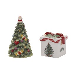 "SPODE ""Christmas Tree"" Gold Tree and Gift Box Salt and Pepper Shakers #1581784"