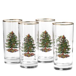 "SPODE ""Christmas Tree"" Highball Glasses 15oz. Set of 4"