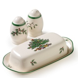 "SPODE ""Christmas Tree"" Hostess Set: Covered Butter 8"" and Salt and Pepper Shakers 3"""