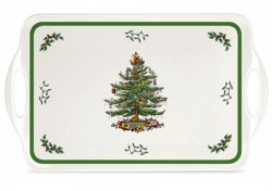 "SPODE ""Christmas Tree"" Large Melamine Handled Tray"