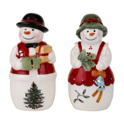 "SPODE ""Christmas Tree"" Mr. and Mrs. Snowman Salt and Pepper Set #1603837"