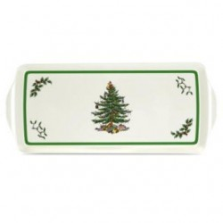 "SPODE ""Christmas Tree"" Sandwich Tray with Handle 15.1"" x 6.5"""