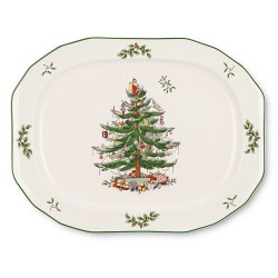"SPODE ""Christmas Tree"" Sculpted Octagonal Platter 14"""